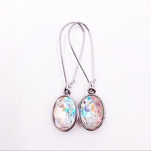 Swarovski Puzzle Crystal AB Pierced Earrings